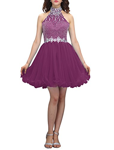 - Wedtrend Women's Halter-neck Homecoming Dress with Beads Short Prom Dress WT12038Grape 4