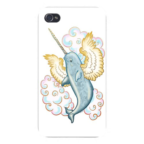 Apple iPhone Custom Case 4 4S White Plastic Snap On - Flying Whale Narwhal Flying w/ Wings in Clouds](Custom Iphone 4 Case)