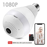 ZEEPIN Bulb WiFi IP Camera Wireless, Hidden Cameras 360 Panoramic 2.0MP 1080P Secuity Light and Infrared Night Vision with Free 32G Card Smart Home Gifts