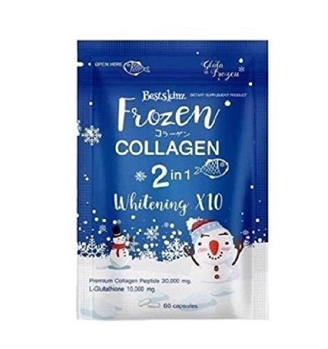 Frozen Collagen gluta 2 in 1 whitening x10 glutathione Snow White Skin Brighten Lighten Flawless Radiant Reduce Acne Scars Dark Spots Freckles Blemishes