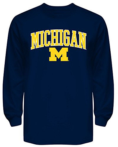 Michigan Wolverines Long Sleeve T Shirt Navy - M