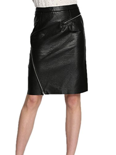 Hope Show Women's Sexy Leather Skirt Classical Versatile Midi Long A-Line Swing Skater Skirts