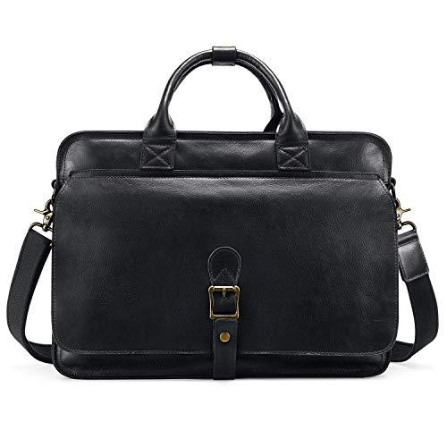 "Kattee Business Laptop Briefcase, 15.6"" Genuine Leather Tote Messenger Bag"