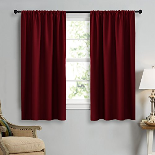 Burgundy Curtains Blackout Drape Panels - NICETOWN Lights Block Out Window Treatment Curtain Sets for Bedroom Decoration (Set of 2 Panels, 42 by 45-Inch ) (Sheer 45 Panels Curtain)