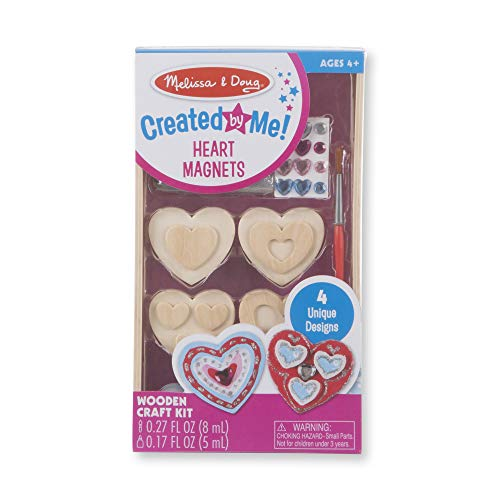 Melissa & Doug Created by Me! Wooden Heart Magnets Craft Kit (4 Designs, 4 Paints, Stickers, Glitter Glue) ()