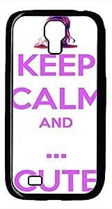 Samsung Galaxy S4 I9500 Black Hard Case - Keep Calm And Cute Galaxy S4 Cases