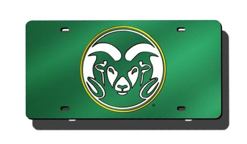 (NCAA Colorado State Rams Laser Inlaid Metal License Plate Tag )