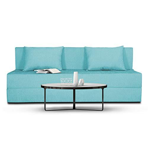 Adorn India Easy Three Seater Sofa Cum Bed Alyn 6'x 6′ (Aqua Blue)