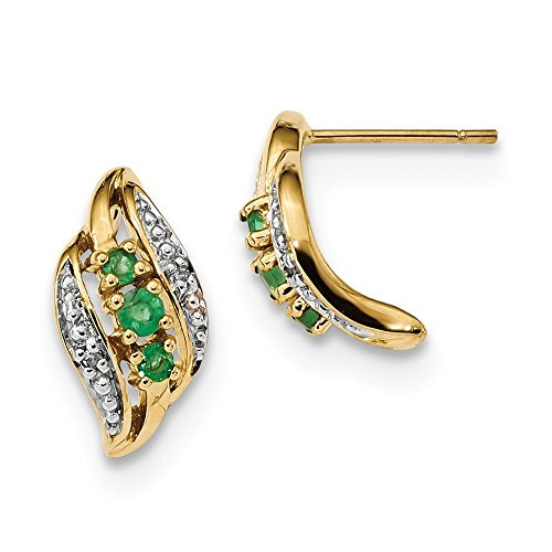 7.54mm 14k Gold With Emerald and Diamond Polished Post Earrings by JewelryWeb