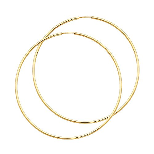 14k Yellow Gold 1.5mm Thickness Endless Hoop Earrings (55 x 55 mm) by The World Jewelry Center