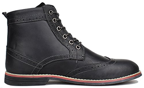Dress Leather Boot Black (Kunsto Men's Leather Classic Brogue Boots Lace up US Size 10 Black)