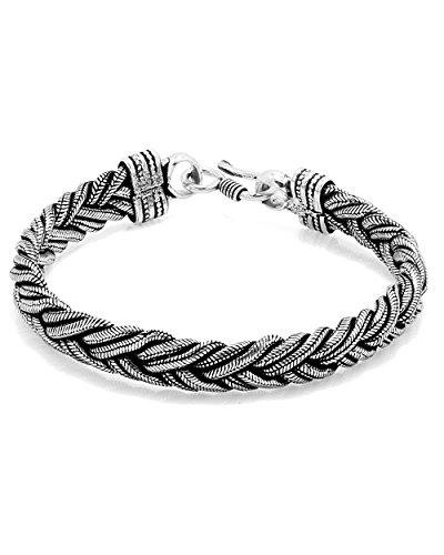 Voylla Oxidized Silver Tone Metal Braided Bracelet