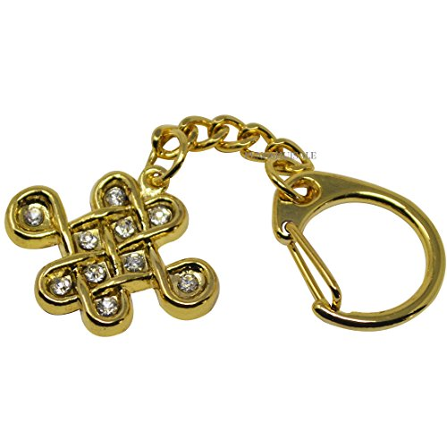 (Feng Shui Bejeweled Mystic Knot Amulet Keychain + Free Fengshuisale Red String Bracelet W1017-1 )