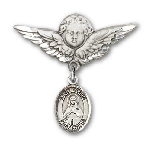 Icecarats Créatrice De Bijoux En Argent Sterling St. Olivia Charme Ange Broche De Badge 1 1/8 X 1 1/8