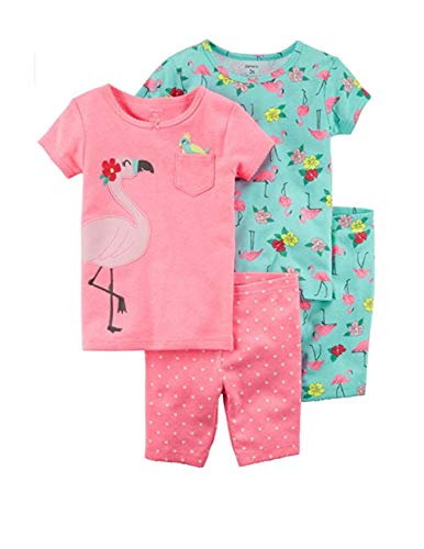 Carter's Girls' 3M-5T 4 Piece Pajama Set (12 Months, Pink/Flamingo) ()