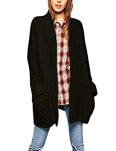 Choco Mocha Womens Black Cardigan Sweater Coat Chunky Cable Knit With Pockets