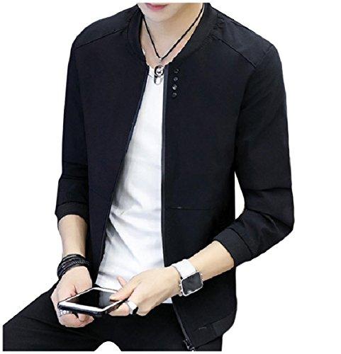 Zip Jacket XINHEO Coat Soft Solid Men's Black Collar Color Stand Pockets 5TTOqwF