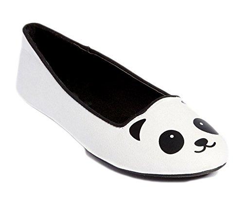 Gewoon Bloemblaadjes Meisjes Glijden Op Dierenthema Critter Ballet Flat (kat, Panda, Eenhoorn, Vos) Panda Wit