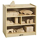 ECR4Kids Birch 4-Cubby School Classroom Block Storage Cabinet with Casters, Natural, 24'' W