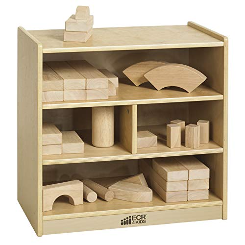 "ECR4Kids Birch 4-Cubby School Classroom Block Storage Cabinet with Casters, Natural, 24"" W"