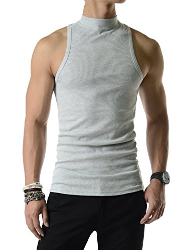 657a7a4d09252 SLV02) Mens Slim Fit Sexy High Neck Tank Top 100% Cotton Sleeveless ...