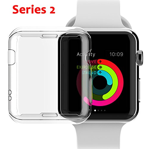 Apple Watch Series 2 38mm Case, NSR Apple Watch TPU Screen Protector All-around Protective 0.3mm HD Clear Ultra-thin Cover Case for iWatch 38mm