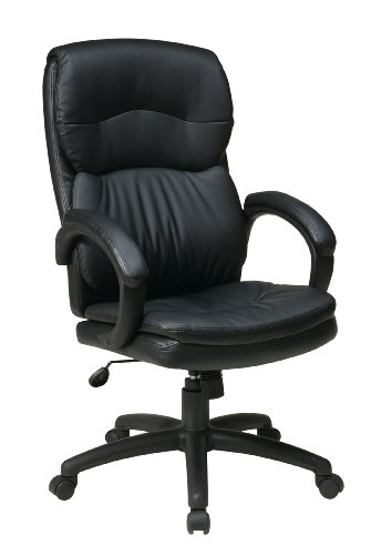 Office Star High Back Thick Padded Contour Seat and Back with Padded Armrests Black Eco Leather, Executive Chair
