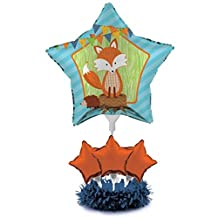 Pack of 4 Forest Fox Blue and Orange Star Foil Party Balloon Centerpiece Kits