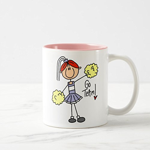 Zazzle Purple Stick Figure Cheerleader T-shirts and Gifts Two-tone Coffee Mug, Pink Two-Tone Mug 11 oz