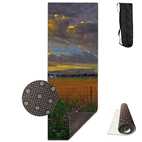 Summer Countryside Farm Scenic Deluxe,Yoga Mat Aerobic Exercise Pilates Anti-Slip Gymnastics Mats
