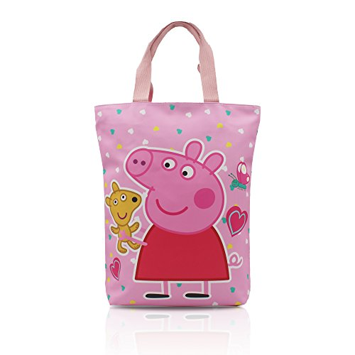 Finex Pink Peppa Pig Reusable Tote bag large handbag with zipper for women girls -