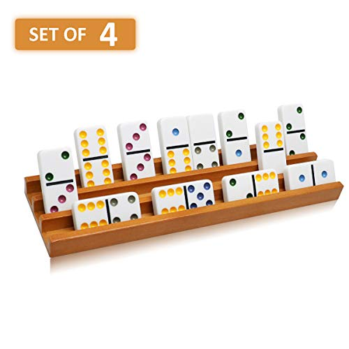 Exqline Wooden Domino Racks Trays Holders Organizer(Set of 4) - Premium Domino Tiles Holder Racks for Mexican Train Dominoes Games - Dominos NOT - Wooden Game Dominoes Set
