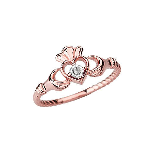 Dainty 10k Rose Gold Open Heart Solitaire CZ Rope Claddagh Promise Ring (Size -
