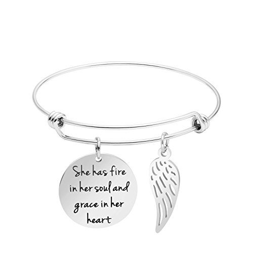 Awegift Motivational Expandable Stainless Steel Cuff Bracelet Eagle Wing Disc Charm Bangle Engraved She Has Fire in Her Soul and Grace in Her (Wing Disk)