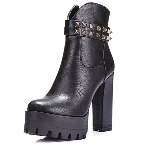 Boots Platform Ankle LongFengMa With High Heel Rivet Women's Black fWXwZ