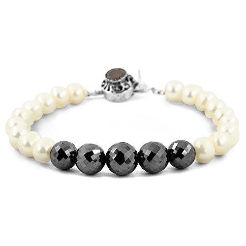 Barishh Handmade Black Diamonds Bracelet with Pearls - CERTIFIED by Barishh