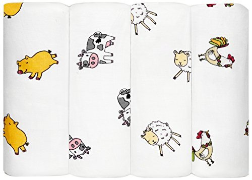 Swaddle Blankets - Cotton Muslin Newborn Baby Gifts, Unisex Gender Neutral Baby Shower for Boy Girl, Large 47 inch, 4 Count Pack Gift Box Set, Stroller Blanket Expectant Mother, Farmyard Collection - Farm Animal Crib Sets