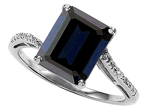 Emerald-Cut-10×8-Genuine-Black-Sapphire-Engagement-Ring-14kt-Gold