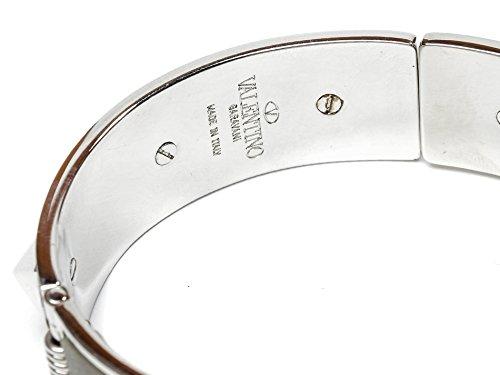 Wiberlux Valentino Women's Silver Stud Detail Steel Cuff Bracelet One Size Olive by Wiberlux (Image #4)