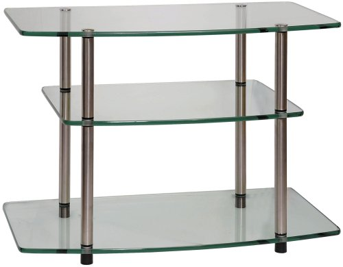 Clear Tv Stand Set (Convenience Concepts Designs2Go Go-Accsense Glass TV Stand for Flat Panel TV's Up to 32-Inch or 80-Pounds, Clear Glass)