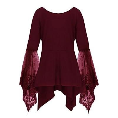Bluewolfsea Womens Elegant V Neck Lace Long Sleeve Babydoll Top Blouses T-Shirts
