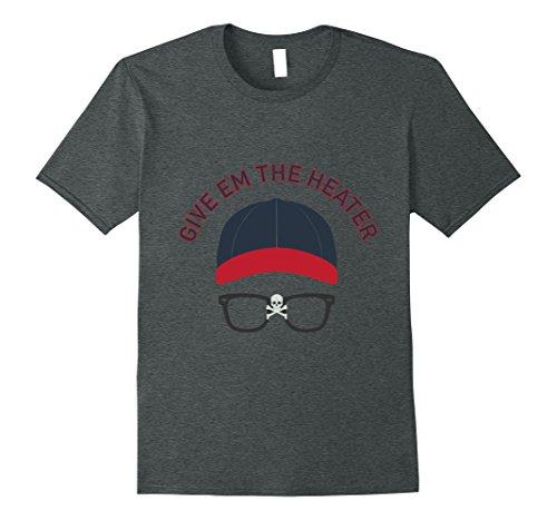 Mens Give em the Heater Skull and Bones Glasses Baseball T-Shirt! XL Dark - Thing Wild Glasses