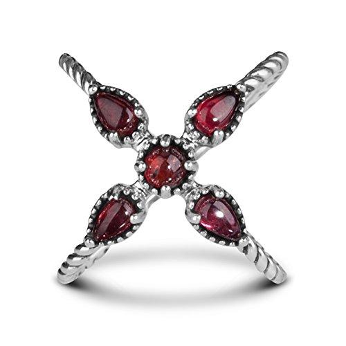 Carolyn Pollack Sterling Silver Red Garnet X Ring
