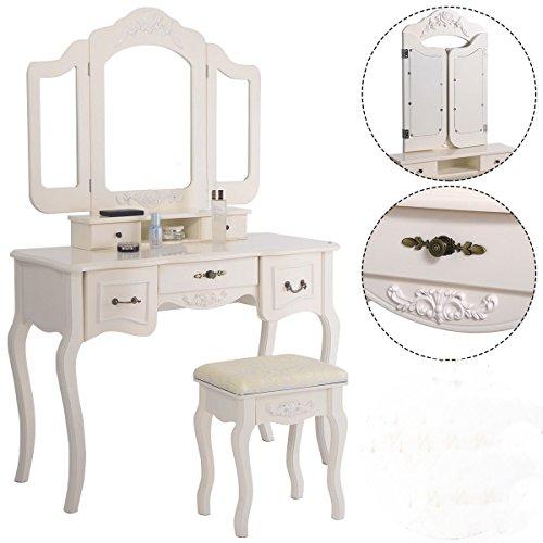 Tri Folding Vintage White Vanity Makeup Dressing Table Set 5