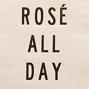 """X&O Paper Goods Pink """"Rosé All Day"""" Beverage and Cocktail Napkins, 20pc, 5"""" W x 5"""" L"""