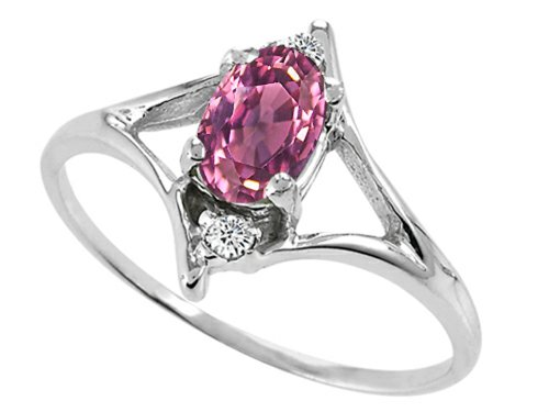 Tommaso Design Oval 6x4 mm Genuine Pink Tourmaline Ring 14 kt White Gold Size 9