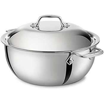 All-Clad 4500 Stainless Steel Tri-Ply Bonded Dishwasher Safe Dutch Oven with Domed Lid/Cookware, 5.5-Quart, Silver