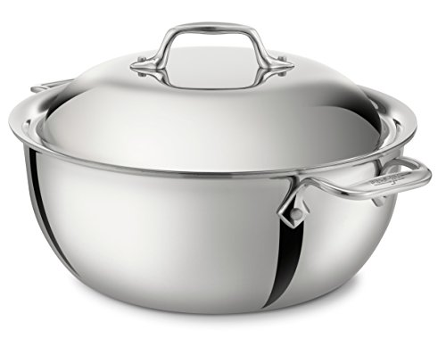 Dishwasher Safe Stainless Steel Dutch Oven (All-Clad 4500 Stainless Steel Tri-Ply Bonded Dishwasher Safe Dutch Oven with Domed Lid / Cookware, 5.5-Quart,)