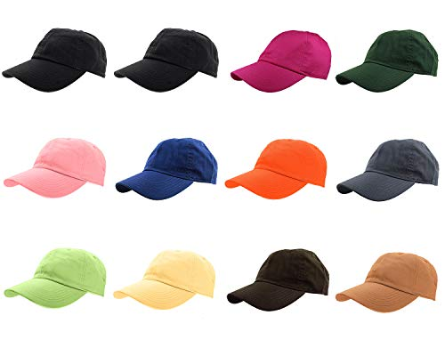 Gelante Baseball Caps 100% Cotton Plain Blank Adjustable Size Wholesale LOT 12 Pack (Assorted #2) -