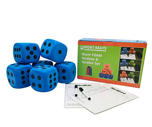 SPORT BEATS Giant Jumbo Foam Yard Dice,Perfect for Kids Indoor yardzee-2 scoreboards& Markers Carry Bag Included